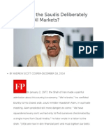 Why Would the Saudis Deliberately Crash the Oil Markets