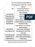 CHMY 141 FINAL EXAM Room Assignments - Fall 2014(1)