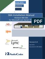 LTRT-39153 Mediant 800 SBA for Lync 2010 Installation Manual