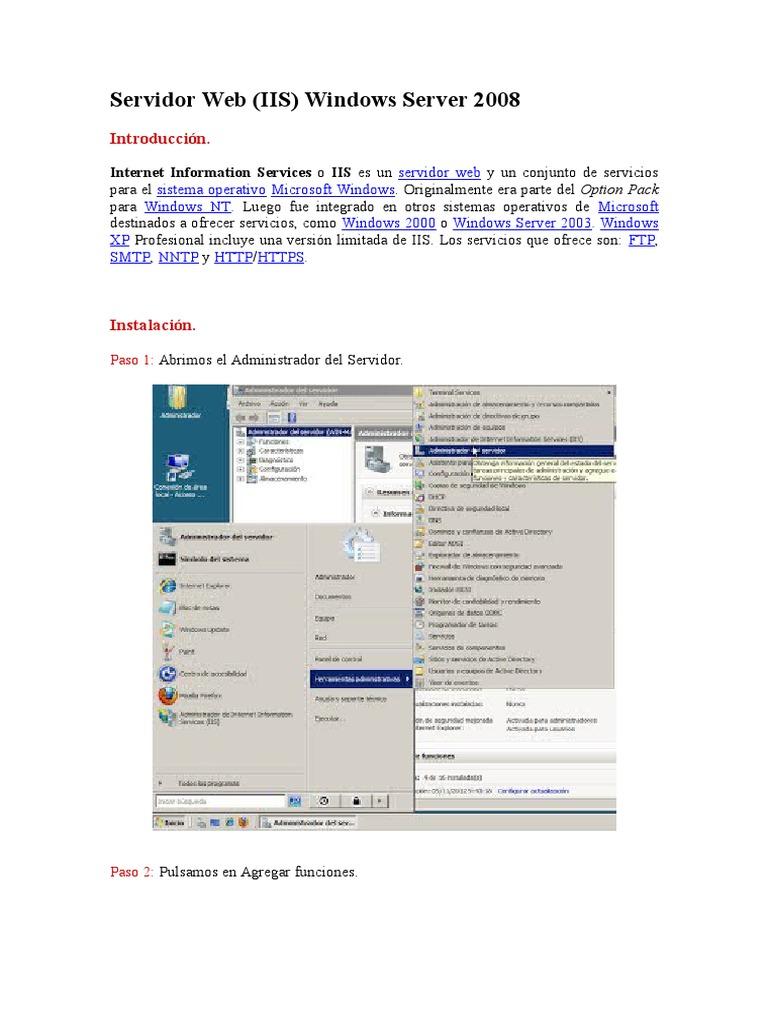 Servidor Web en Windows Server 2008