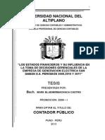 LOS ESTADOS FINANCIEROS Y SU INFLUENCIA EN LA TOMA DE DECISIONES GERENCIALES DE LA EMPRESA DE GENERACION ELECTRICA SAN GABAN S.A.
