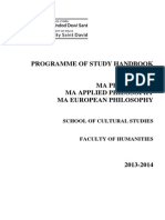Programme of Study Handbook - MA Philosophy, MA Applied Philosophy, MA European Philosophy