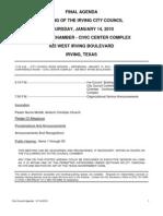 IrvingCC Agenda 2010-01-14