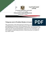 Telegram to President Assad of Syria
