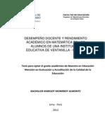 2012 Monrroy Desempeño Docente y Rendimiento Académico en Matemática de Los Alumnos de Una Institución Educativa de Ventanilla Callao