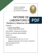 6to informe Mc216 Soldadura Maquinas Herramientas