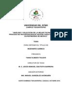 Análisis y Selección de La Mejor Tecnología Del Proceso de Recuperacion de Azufre Para Gases de Cola en Refinerias de Mexico