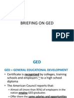 BRIEFING on GED and Chapter 1 Writing