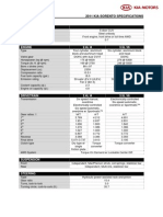 2011 Kia Sorento Specifications