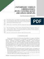 Hegel Kant Comunitarismo Liberalismo