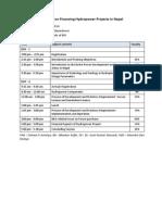 Training Schedule Hydropower KFA