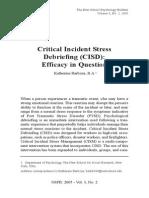 Critical Incident Stress Debrifing