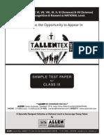 Tallentex Sample Paper class 9