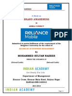 Brand Awareness With Respect to Relianec Communications