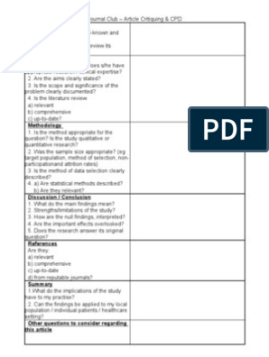 Journal Club Article Critiquing And Cpd For Physiotherapists