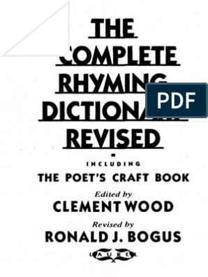 Clement Wood Ed The Complete Rhyming Dictionary Revised Pdf Metre Poetry Poetry