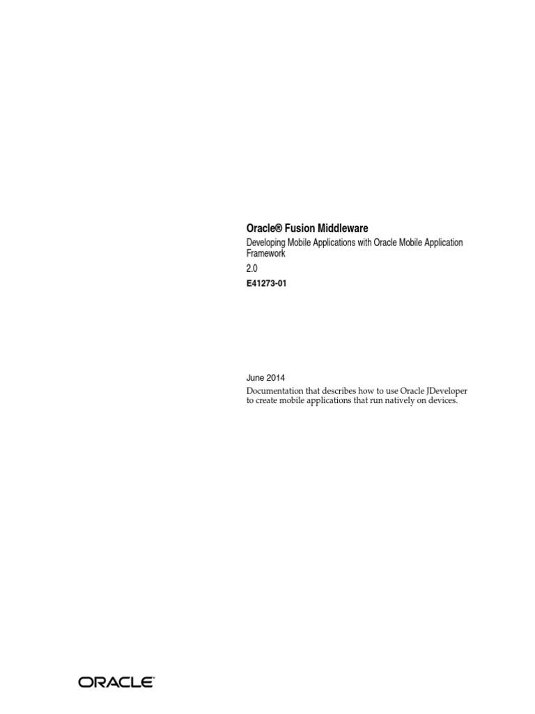 Oracle Mobile Application Framework Developer Guide Pdf