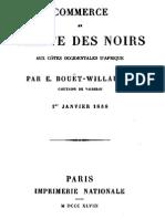 Bouët-Willaumez, Édouard - Commerce et traite des noirs aux côtes occidentales d'Afrique.