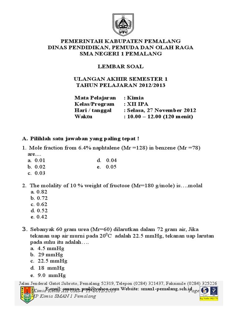 Soal Kimia Kelas 12 Semester 1 Dan Kunci Jawaban Guru Galeri