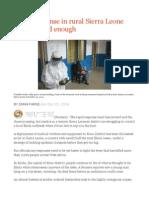 Ebola Response in Rural Sierra Leone Not Yet Rapid Enough
