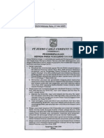 Iklan Hasil RUPS Tahun 2009 JECC