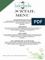 JOI Cocktail Menu