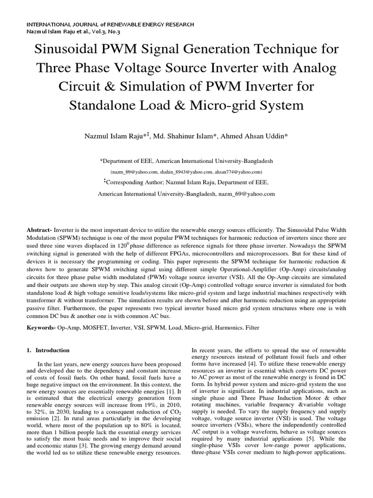 Sinusoidal Pwm Signal Generation Technique For Three Phase Voltage Discrete Generator Circuit Source Inverter With Analog Simulation Of Standalone Load