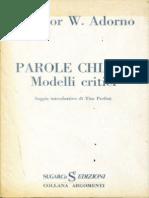 Theodor W. Adorno - Parole Chiave. Modelli Critici