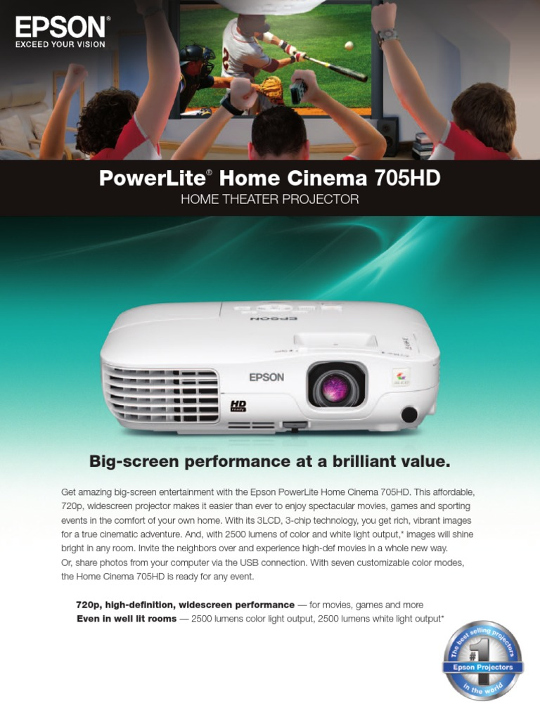 specs 705hd video imaging rh es scribd com Epson Projector Remote Button List Epson 3LCD Projector Troubleshooting