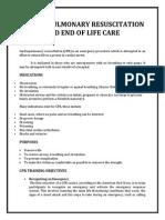 Cardio Pulmonary Resuscitation and End of Life Care