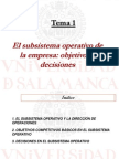 Tema 1. El Subsistema Operativo de La Empresa - Objetivos y Decisiones