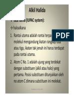 KO 1, Bhn Kuliah 5, Tata Nama Alkil Halida