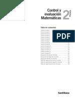 CONTROL Y EVALUACION MATEMATICA  2° PRIMARIA