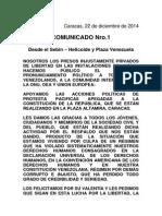 Comunicado Nro. 1 Presos Politicos 22-12-2014
