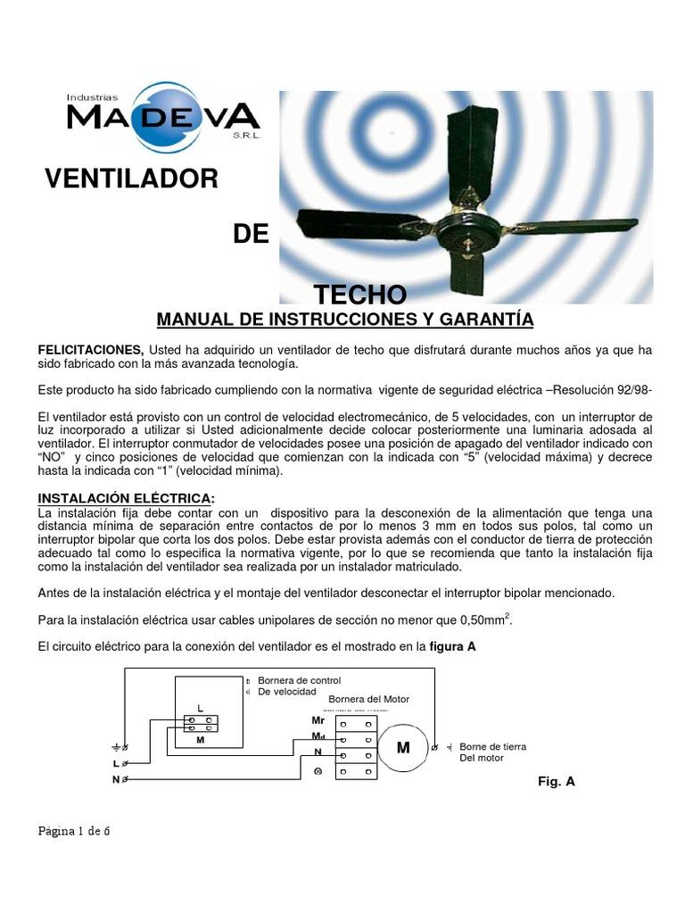 Circuito Ventilador : Manual instructivo de ventiladores de techo vt