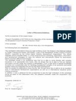 Recommandation Letter