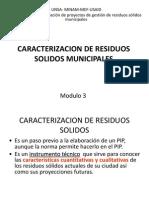 CARACTERIZACION DE RESIDUOS SOLIDOS MUNICIPALES