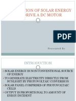 UTILIZATION OF SOLAR ENERGY TO DRIVE A DC MOTOR