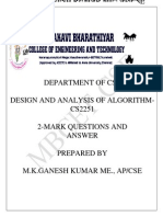 Cs2251-Design and Analysis of Algorithm 2 Marks