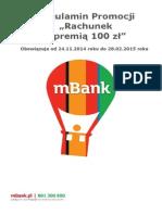 Regulamin Promocji Rachunek  z premią 100 zł w mBank