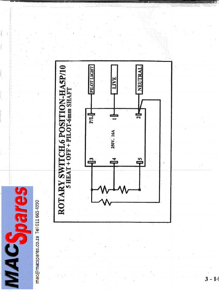 wiring diagrams stoves switches and thermostats macspares connection 6 position 5 heat stove switch home appliance  connection 6 position 5 heat stove