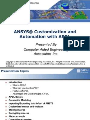 ANSYS® Customization and Automation With APDL | Matrix