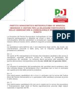 Regolamento Per l'Individuazione Delle Candidature Per Le Elezioni Regionali - PD Metropolitano di Venezia