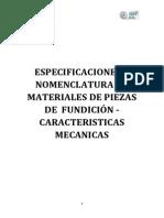 Especificaciones y Nomenclatura de Materiales de Piezas de Fundicic
