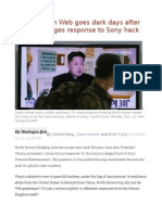 North Korean Web Goes Dark Days After Obama Pledges Response to Sony Hack