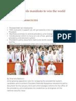 Mahinda Unveils Manifesto to Win the World