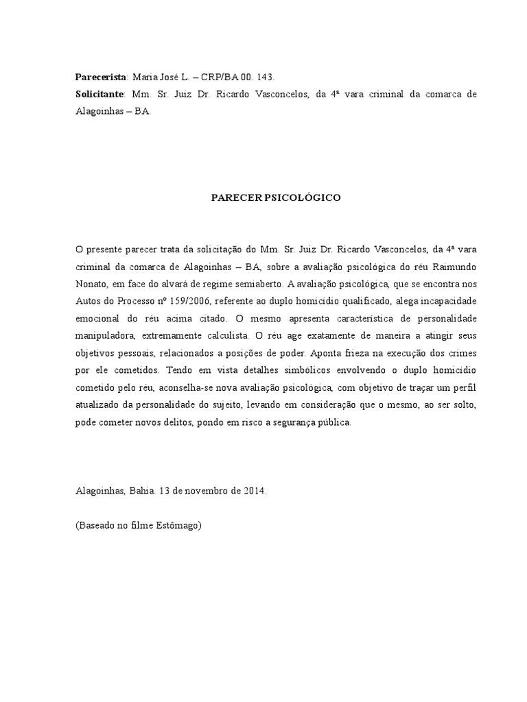 Exemplo de um relatorio