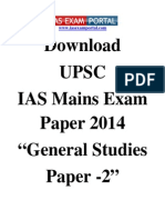 IAS Mains Exam Paper 2014 General Studies Paper 2