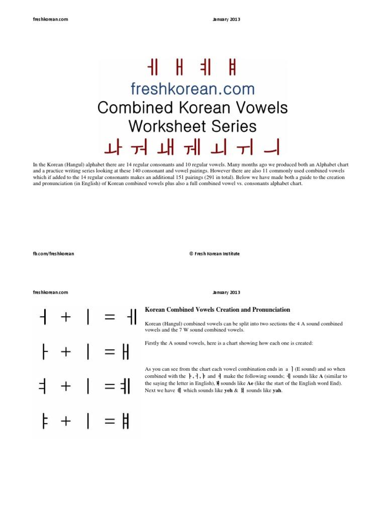 Full Korean Combined Vowels Guide Korean Korean Language Vowel