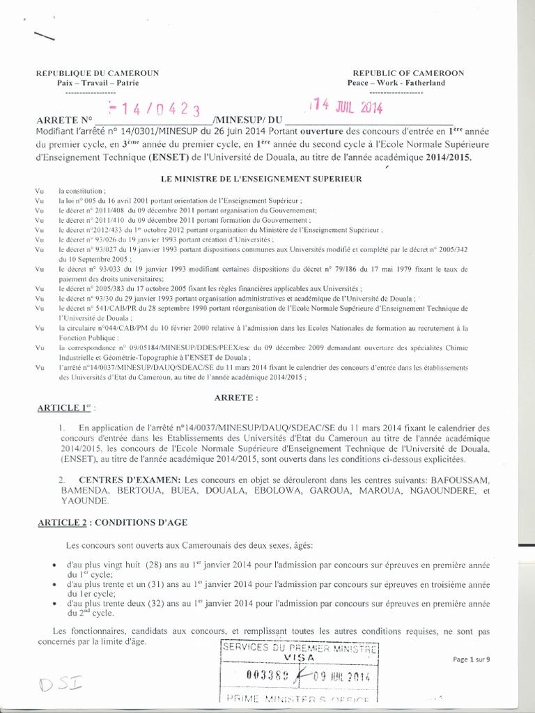 2017 TÉLÉCHARGER ENSET ARRETE CONCOURS GRATUIT DOUALA PDF